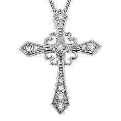 This beautiful and unique antique style diamond cross features 11 brilliant-cut round diamonds beautifully set in shiny prong settings. Perfect for both men and women, this pendant comes with an matching white gold cable chain. Diamond Cross Necklaces, Best Friend Jewelry, Cross Jewelry, Pendant Jewelry, Pendant Necklace, Silver Jewelry, Gold Necklace, Vintage Diamond, Pink And Gold