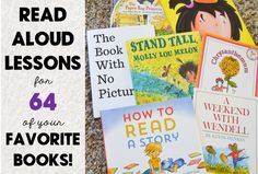 Printable one page lessons for 64 of your favorite books! Scope and sequence of skills included