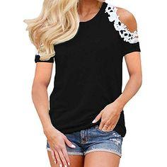 feiXIANG Maglietta da Donna T-Shirt da Donna Elegante Maglia Manica Corte  Taglie Forti Pizzo estive Donne Shirt Top Donna Divertenti Camicetta  Magliette ... 5de7c2b22a7