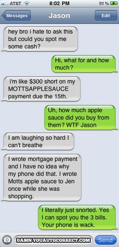 """""""Uh, how much apple sauce did you buy from them? WTF, Jason"""" I'm laughing ..."""