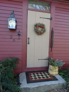 Maybe paint a rug on back garage door concrete & Red colonial door with mustard siding and grey-green trim. | entry ...
