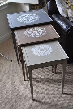 I Am Momma - Hear Me Roar: Painted Doily Nesting Tables