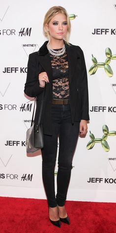 Ashley Benson in H&M Lace Bodysuit + Blazer + Black Denim at Jeff Koons for H&M event, July 2014
