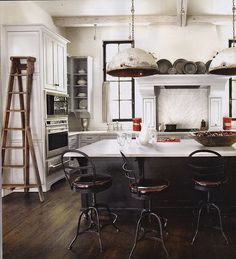 rustic, industrial lights in the kitchen by aGee