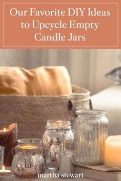 Are you looking for décor pieces, storage solutions, or a home for your plants? This is all possible and more with the use of empty candle jars and our upcycling candle jar ideas. #marthastewart #diydecor #diyprojects #diyideas #hobby