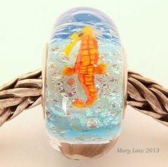 Tropical Beach Dichroic Sparkle Bead for Pandora, Troll Bracelet ML SRA Lampwork Murano Glass European Charm. $48.00, via Etsy.