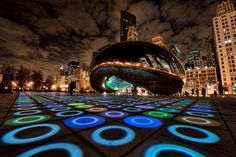 Luminousfield art installation by Luftwerk at the Cloudgate sculpture in Millennium Park, Chicago, IL, USA