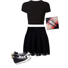 Designer Clothes, Shoes & Bags for Women Polyvore Fashion, Cheer Skirts, Skater Skirt, Converse, Shoe Bag, Stuff To Buy, Shopping, Collection, Design