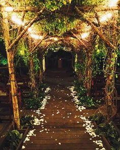 Gorgeous late night wedding aisle at Hidden Creek, Southern California's out door wedding venue. #PineRoseWeddings