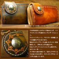 Rakuten: Leather wallet cow real leather Stan Ping craft shading off hand dyeing finish USA Indian concho long leather wallet (full-featured package attached to the same color belt key / wallet cord) men's / Lady's- Shopping Japanese products from Japan