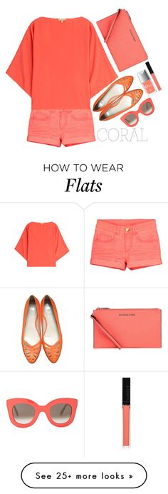 """Coral style"" by simona-altobelli on Polyvore featuring Michael Kors, HUGO, CÉLINE, Butter London, Christian Dior, women's clothing, women, female, woman and misses"