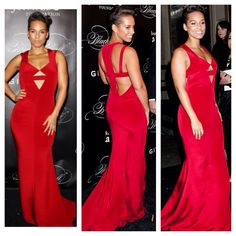 Alicia keys - wearing cushnie et ochs red silk cut out gown.