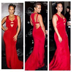 Alicia keys - wearing cushnie et ochs red silk cut out gown.