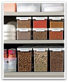 (Pantry.) For baking supplies, such as sugar and flour, transfer from the bag into an airtight container. Stackable containers allow you to use space effectively. Make sure you label all storage containers.