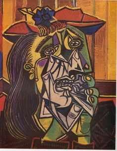 """This painting is """"The weeping woman"""" and it was created in 1937 by Pablo Picasso.  The artwork features cubism which has characteristics of having different perspective in geometric shapes.  As the painting shows the viewpoints are in simple various shapes."""