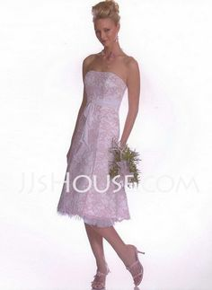 Bridesmaid Dresses - $105.99 - A-Line/Princess Strapless Tea-Length Lace Bridesmaid Dresses With Lace (007001133) http://jjshouse.com/A-line-Princess-Strapless-Tea-length-Lace-Bridesmaid-Dresses-With-Lace-007001133-g1133