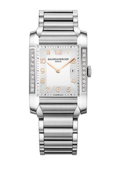 With equal parts #elegance and charm, the #Hampton 10023's #diamond set case and sun satin-finished silver dial can dress for any occasion. #womensfashion #luxurywatch #baumeetmercier