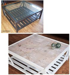 diy map projects | DIY Home projects / The Painted Hive | Coastal Map Covered Coffee ...