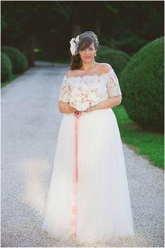 A-line Off Shoulder Floor Length Tulle Plus Size Wedding Dress Plus Size Brides, Plus Size Wedding Gowns, Curvy Bride, Gorgeous Wedding Dress, Vintage Bridal, Wedding Bride, Wedding 2017, Wedding Bells, Fall Wedding