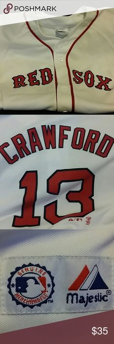 Youth Red Sox jersey Crawford, number 13. Like new, has only been worn twice. I'm a medium and this youth 14/16 fit me well. Majestic Tops