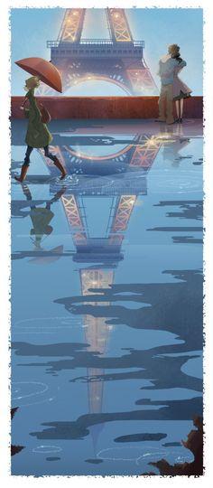 art, illustration, figure, man, woman, standing, behind, hugging, side, walking, rain, water, paris, ifle tower, love,  //  Brittney Lee