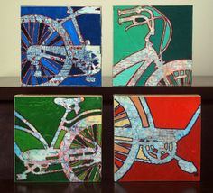 Four 6x6 Mounted Bike Prints with Maps by OffTheMapArt on Etsy, $75.00