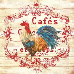 Cafe Rooster On White Print By Jean Plout