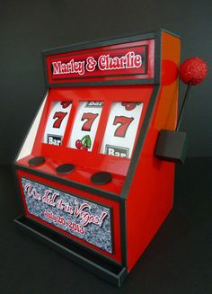 """""""We Did It In Vegas"""" slogan for this gift card money box for a wedding. We make foam core slot machines for ANY theme and in ANY colors. #LasVegas #partydecor"""