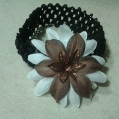 Brown and white flower in elastic headband $3.99