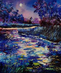 Mysterious Blue Pond Painting by Pol Ledent