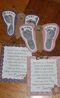 """""""This isnt just a butterfly as you can plainly see. I made it with my feet which is a part of me. it comes with lots of Love Especially to say I hope you have a very Happy Grandparent's Day!"""""""