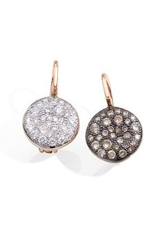 "Pomellato's 1"" Sabbia earrings in rose gold with white diamonds and brown diamonds. Also available with black diamonds. Starting at $4,000."