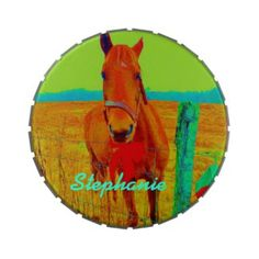 Green sky , red bow Horse : add name Jelly Belly Tins
