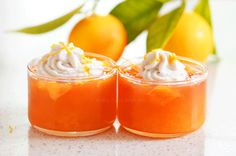 Fresh orange jelly topped with coconut cream… a taste of the Mediterranean! Blood Orange, Healthy Dessert Recipes, Coconut Cream, Jelly, Fresh, Eat, Food, Marmalade, Meals