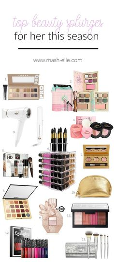 I want them all in my stocking!! | Beauty blogger Mash Elle shares the best beauty splurges this Christmas! A roundup of high end beauty products from tarte, hourglass, makeup forever, mac, Anastasia Beverly Hills, Laura mercier, laura gallery, T3, too faced, tory burch, kate spade, NARS and more!