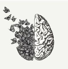 Brain Drawing, Brain Art, Arte Com Grey's Anatomy, Anatomy Art, Cool Art Drawings, Art Drawings Sketches, Brain Tattoo, Outline Art, Medical Art