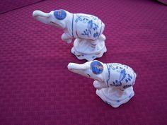 ELEPHANT FIGURINES White & Blue Onion Design CERAMIC China SET OF 2