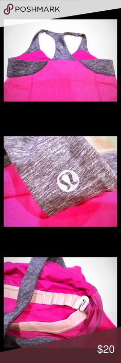 Lululemon pink/gray workout tank size 6 By lululemon, size 6 worn twice, great condition, adjustable inside lining, shown in pictures, pink and gray with lululemon stamp on back in silver. lululemon athletica Tops Tank Tops