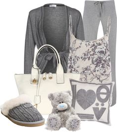 """Slumber Party-Soft & Plush"" by happygirljlc ❤ liked on Polyvore... comfy. i just want the teddy bear. ;)"