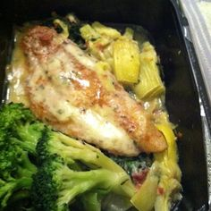 Late-night dinner from Diet-to-Go - Creole Catfish. Smells divine.