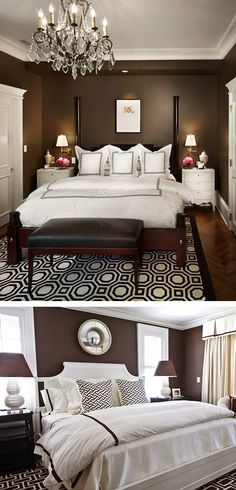 deep rich chocolate walls with crisp white moulding and bedding, and some strong patterns to make it all work