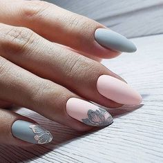 inch NAILS FRENCH grey and pink matte finish with contrasting florals. Now😚😚😚 Nails, nail art designs, nail designs, nail art, nail designs acrylic Gorgeous Nails, Pretty Nails, Fun Nails, Diva Nails, Sexy Nails, Spring Nail Art, Spring Nails, Almond Acrylic Nails, Manicure E Pedicure