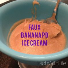 Gluten Free Dairy Free Banana Peanut butter ice cream. 2 ingredients. Simple & easy. Faux ice cream. Clean eating! Healthy Dessert!