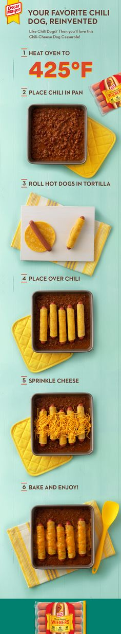 Take the classic Chili-Cheese Dog to the next delicious level with this Chili-Ch. Hot Dog Recipes, Beef Recipes, Cooking Recipes, Cat Recipes, Recipies, Chili Cheese Dogs, Chili Dogs, Kids Meals, Easy Meals