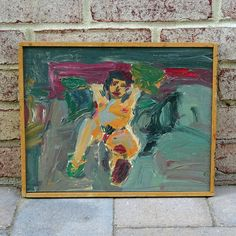 This very cool and funky original abstract oil painting comes out of a Harrisburg, Pennsylvania Estate sale. This painting depicts a sitting nude woman. Beautiful bright colors of reds, oranges, beiges and different shades of green cover this painting done on board. This piece was sold in a private collection of other pieces from the 1960s and 1970s. This painting includes its original pine wood strip frame.  Marked upon the verso in pencil Painted by Eugene Rappaport 1965 Purchased by…