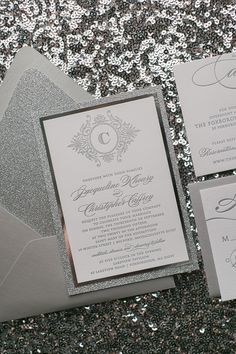 Silver+Glamour+Wedding+Invitations,+Glitter,+Letterpress