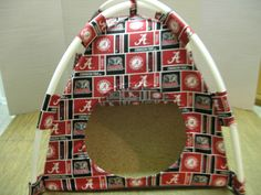 Alabama CrimsonTide Handmade Fabric Pup Tent Pet Bed. Avail @ http://stores.sharonsdecoratedbooks.com/ Beds r made when ordered and payment is received. The average time that it takes for the Bed to ship after payment is usually 5 biz days. The  Beds are made of licensed cotton NCAA College material, but are not licensed by the NCAA College. They are handcrafted and resold under rights granted by the 1st sale doctrine. We are not affiliated with The Licensed Company in any way. **22$ Sm  27$…