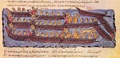 The Byzantine fleet repels the Rus' attack on Constantinople in 941. Boarding actions and hand-to-hand fighting determined the outcome of most naval battles in the Middle Ages. Here the Byzantine dromons are shown rolling over the Rus' vessels and smashing their oars with their spurs.[