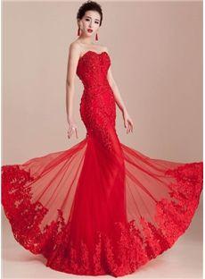 ファッションセクシーな人魚のアップリケビーズの恋人のレースアップ床の長さのイブニングドレス