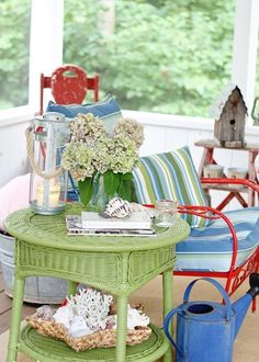 Decoration, Outstanding Colorful Ideas Summer Small Porch Design And Round Rattan Coffee Table: 36 Enjoyable Small Summer Front Porch Decorating Ideas